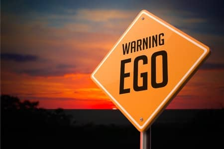 Sign with ego warning